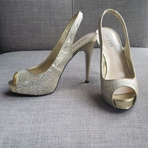 Guess Gold Sequin Pumps